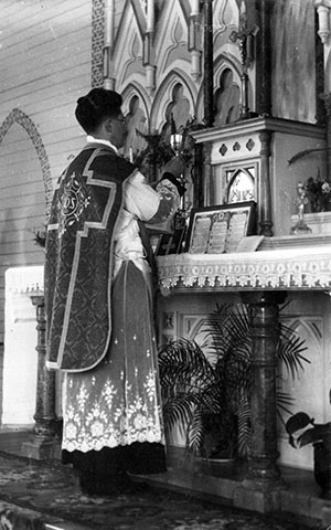 Fr Kevin English MSC celebrating Mass on 10 Aug 1941.